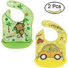 STIME - Pack de 2 baberos impermeables para bebé, delantal separable, fácil de limpiar con bolsillo grande para 6 meses a 4 años