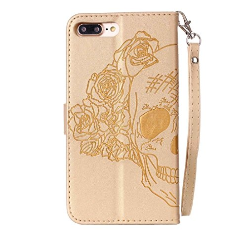 iPhone Case Cover Pour iPhone 7 Plus Crazy Horse Texture Crâne d'impression Horizontal Flip étui en cuir avec Holder & Card Slots & Wallet & Lanyard ( Color : Gold ) Gold
