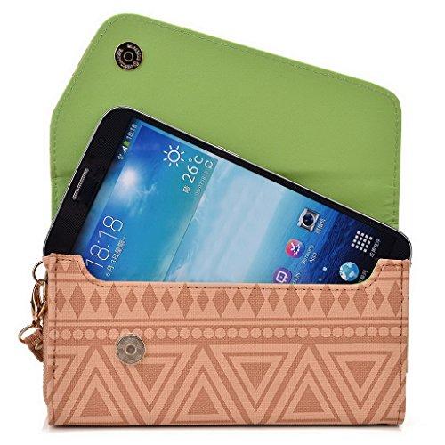 Kroo d'embrayage avec dragonne Portefeuille 16cm Smartphones et phablettes pour Prestigio MultiPhone 7600Duo Multicolore - Rose Multicolore - Brun