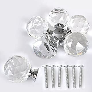 New 6pcs 40MM Clear Crystal Acrylic Glass Door Knobs Handle Cupboard Pull Drawer Kitchen Cabinet Drawer knobs+ Screw Set Home Decorating