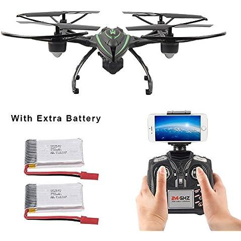 Mattheytoys JXD 510W 2.4G WIFI transmisión en tiempo real con aviones no tripulados de la cámara HD Modo de Alta Retención RC Quadcopter con 2 Pilas extra