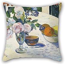 50,8x 50,8cm/5050cm de peinture à l'huile Paul Gauguin–Fleurs et un bol de fruits sur une table Taie d'oreiller, DE deux côtés et Ornement Cadeau d'anniversaire, festival, adultes, bar, Boy ami, canapé