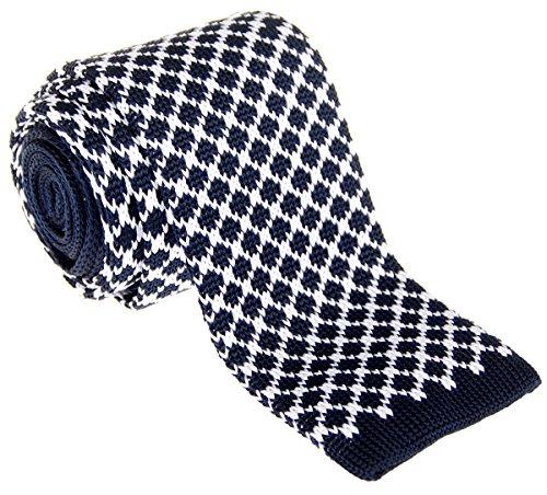 Retreez Herren Krawatte im Vintage-Stil, Rhombus-Stil, 6,3 cm, schmale Strickkrawatte, verschiedene Farben - Blau - Einheitsgröße