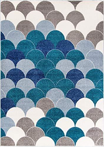 Carpetforyou Schöner moderner Kurzflor Teppich Blue Pearls geometrisch blau grau Creme in 4 Größen für Wohnzimmer oder Schlafzimmer (120 x 170 cm)