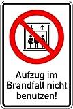 Aufkleber Kombischild Aufzug im Brandfall nicht benutzen! gemäß DIN ISO 7010 Folie 150 x 100 mm (Fahrstuhl, Feuer, Notfall)