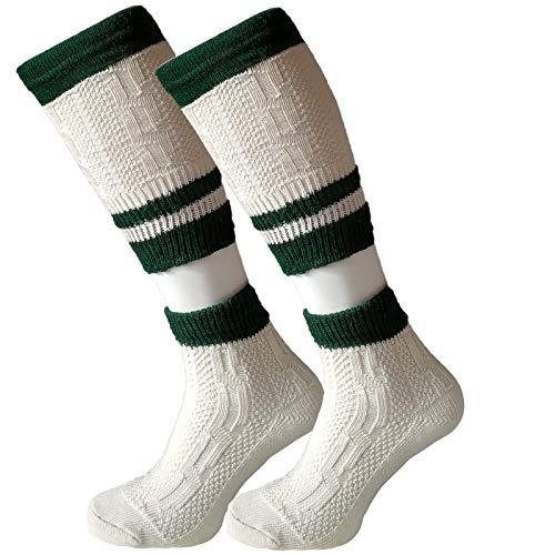   Trachtensocken Trachtenstrümpfe Herren Loferl 2-teilig Wadenwärmer Kniebundstrümpfe Trachten Socken Lang mit Zopfmuster   beige natur weiß grau Gr. 39-48 (41-42 EU, Natur Weiß/ Grün)