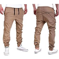 Amlaiworld Pantalones de Chándal de Hombres Pantalones de Deporte Pantalones Jogger Casuales para Hombre (Caqui, L)