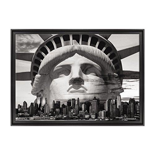 ConKrea Quadro auf Leinwand - fertig zum Aufhängen - Cittö New York B/N - Freiheitsstatue - Liberty - USA America - 70 x 100 cm - Zeitgemäßer Stil Schwarz - (Art.002)