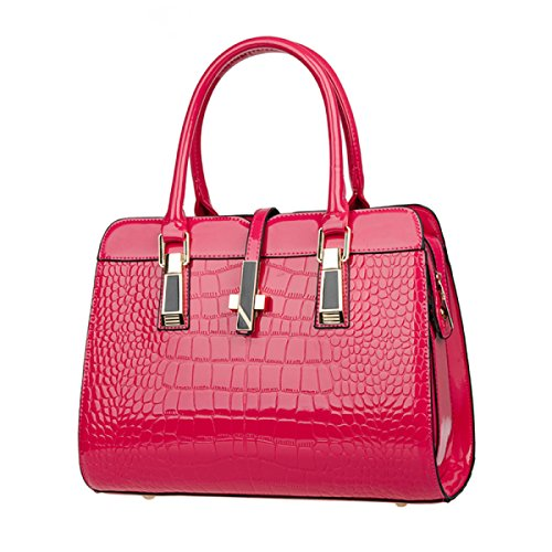 Damen Leder Schultertasche Elegante Mode Schultertasche Messenger Bag Handtasche Damen Schultertasche (schwarz) Red