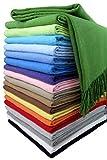 STTS International Baumwolldecke Wohndecke Kuscheldecke Tagesdecke 100% Baumwolle 130 x 170 cm sehr weiches Plaid Rio Alle Farben (Grün)