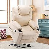 MCombo Elektrisch Aufstehhilfe Fernsehsessel Relaxsessel Massage Heizung elektrisch verstellbar USB (Creme) - 3