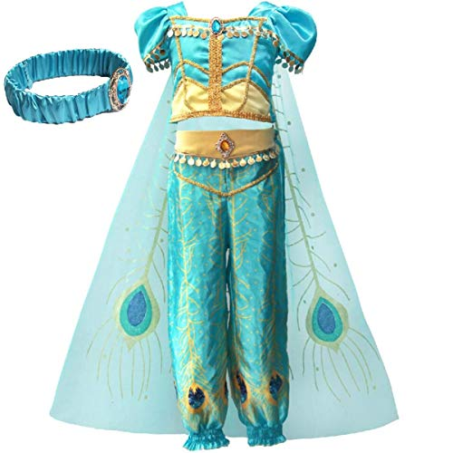 Kostüm Aladdin Jasmine - IWFREE Mädchen Kostüme Prinzessin Jasmine Aladdin Kostüm Verkleidung Faschingskostüm Bauchtanz Kleid Karneval Cosplay Party Halloween Festkleid Kleider Geburtstag Party Ankleiden