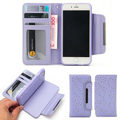 JIALUN-Telefon Fall PU-lederner Kasten 2 in 1 abnehmbare Mappen-Kasten-Abdeckung mit Kartenschlitzen u. Magnetischer Klappe für iPhone 7 ( Color : Gold ) Purple