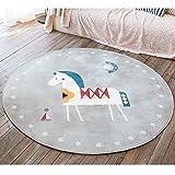GWELL Süß Tier Motiv Fußmatten Runde Teppich...