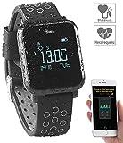 Newgen Medicals Smartwatch: Fitness-Uhr mit Blutdruck- & Herzfrequenz-Anzeige, Bluetooth 4.0, IP68 (Fitnessuhr mit Blutdruck)