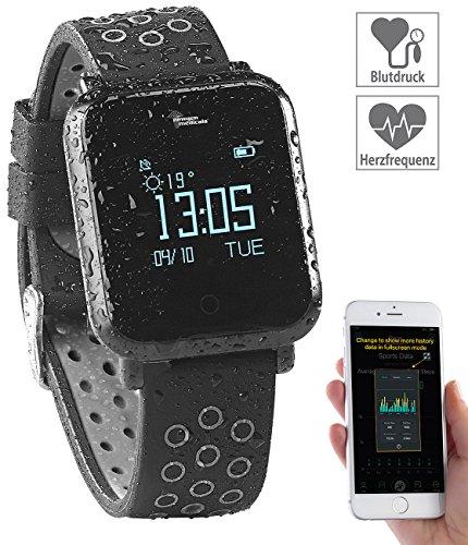 Newgen Medicals Smartwatch: Fitness-Uhr mit Blutdruck- & Herzfrequenz-Anzeige, Bluetooth 4.0, IP68 (Blutdruckuhr)