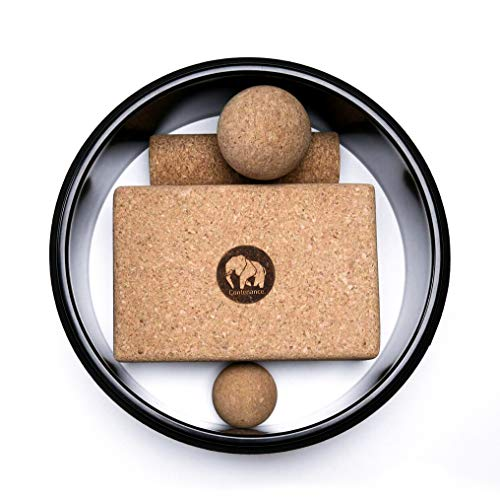 Contenance.® Premium Kork-Yoga Set – Robust & Nachhaltig – Rolle, Bälle, Rad und Block aus Naturkork.