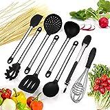 Mirviory silikon küchenhelfer,Hochwertige Hitzebeständige,EinfachZu Reinigen silikon löffel silikon schneebesen Set,Antihaft Topf küchenutensilien (8 Black)