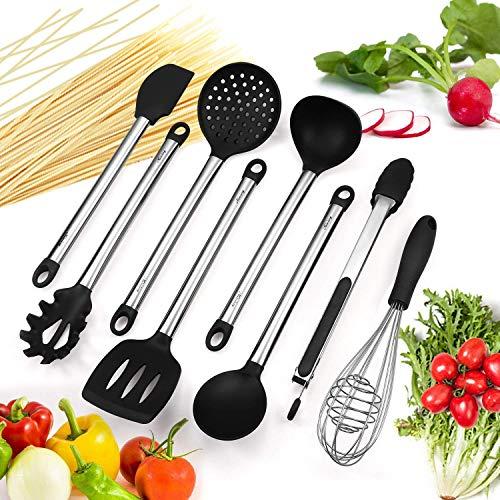 Mirviory silikon küchenhelfer,Hochwertige Hitzebeständige,EinfachZu Reinigen silikon löffel silikon schneebesen Set,Antihaft Topf küchenutensilien