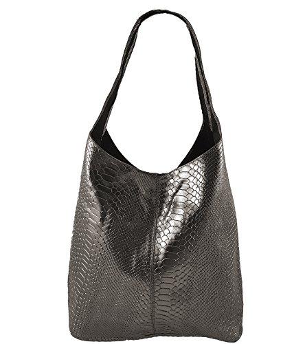 Freyday Damen Ledertasche Shopper Wildleder Handtasche Schultertasche Beuteltasche Metallic look (Anthrazit Snake)