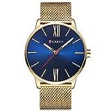 TREEWETO Stilvolle Minimalistische Herren Uhr Gold Blau Großes Gesicht Armbanduhr mit Mesh Milanese Armband Zeitlos Design Zifferblatt und Geschenkbox