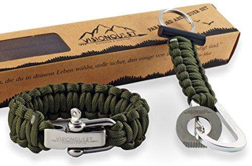 Visionquest Outdoor & Survival Paracord Herren Armband und Schlüsselanhänger mit Feuerstahl | Inkl. Flechtanleitung im E-Book | Inkl. Zubehör | Das Set für Dein Abenteuer