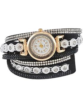 Souarts Damen Geflochten Korea Samt Armbanduhr Jugendliche Mädchen Armreif Uhr mit Batterie Zifferblatt 40cm Schwarz