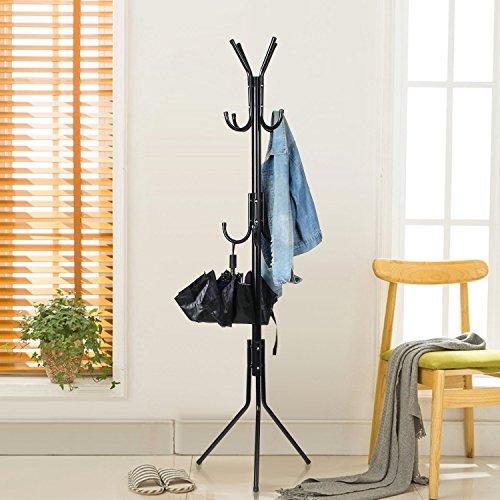 INTEY Garderobenständer Stabil Metall Kleiderständer Garderobe mit 11 Haken Höhe 173 cm, passt gut am Eingang, im Flur, Wohnzimmer, Schlafzimmer Büro etc.(schwarz)