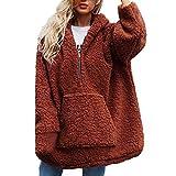 Damen Pullover Hoodie Herbst Winter Sweatjacke Weiche Fleece Mantel Teddy Kapuzen Sweatshirt Kuschelig Jacke Pulli Fleecepullover Kapuzenpullis