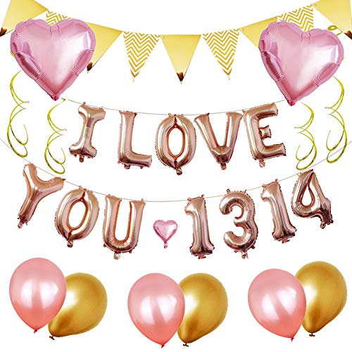ich Liebe Dich Brief Kombination Dreieck Flagge Atmosphäre dekorative Folie Ballon Set für Hochzeitsvorschlag,Pink ()