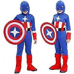 ♛ Tamaño XL - 9-12 Años - Disfraz Traje Carnaval y Halloween De Capitán América Super Héroe Color Azul niño