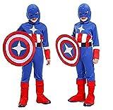 taille L - 7/9 ans - costume déguisement Carnaval et Halloween de capitaine America super héros Couleur bleu petite enfant