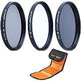 K&F Concept 62mm Filtre Photo Kit de Filtre Lentilles pour Canon Nikon Sony Olympus et les Autres Reflex Numérique avec 62mm Filetage de lentille Filtre UV Protecteur Filtre Polarisant Filtre Gris Neutre+Stylo de Nettoyage + Pochette Filtre