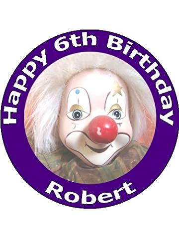 x7.5 Circus Clown Cake Toppers Personalised and Decorated on Rice Paper - [Please use the Amazon buyer messaging system when ordering to tell us the wording for your