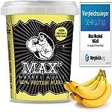 MAX MUSKEL MÜSLI Protein Müsli Low Carb ohne Zucker-Zusatz & Nüsse - Müsli to go wenig Kohlenhydrate viel Eiweiss Sportlernahrung für Muskelaufbau & Abnehmen 100g ToGo Becher (Banane)