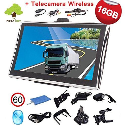 """Noza Tec 7"""" GPS Navigatore Per Camion, 16GB, con Telecamera Wireless, Bluetooth, Aggiornamento Gratuito Per Mappa Europea Modello 189"""