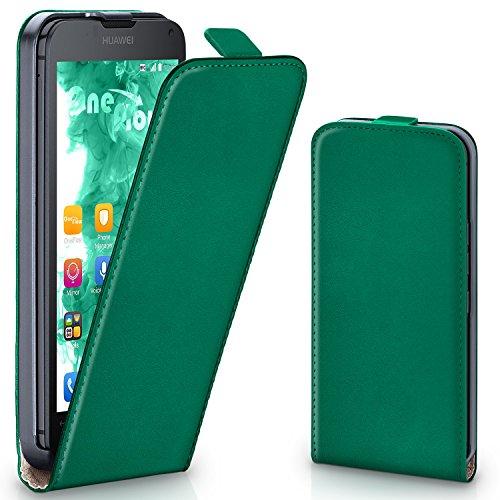 moex Huawei Ascend Y300 | Hülle Dunkel-Grün 360° Klapp-Hülle Etui thin Handytasche Dünn Handyhülle für Huawei Y300 Case Flip Cover Schutzhülle Kunst-Leder Tasche