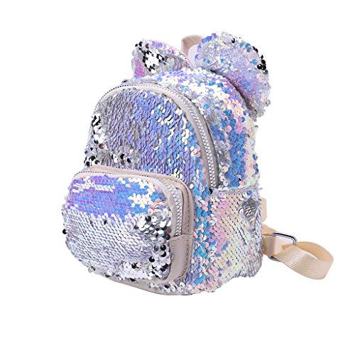 Exing Süße Pailletten Umhängetasche Bling Glitter Daypack für Studenten Rucksack Schule, Silber (Silber) - 100