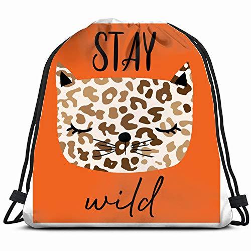 wild cat Slogan Tee Animals Wildlife Art Gym Sack Bag Drawstring Sport Beach Travel Outdoor Backpack for Women 17X14 Inch -