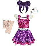 Simile LOL Purple Vestito Carnevale Bambina LOL Queen Cosplay Dress LOLPUQ1 (Solo Vestito, 110)