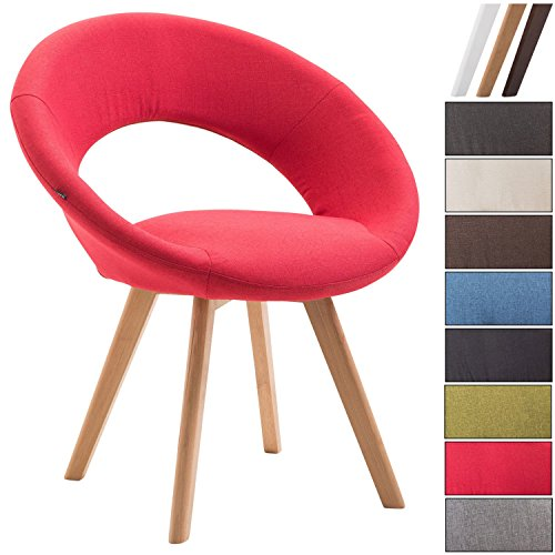 Clp sedia visitatore beck con schienale - sedia pranzo in tessuto i poltroncina imbottita con telaio in legno i sedia design moderno rosso colore base: natura