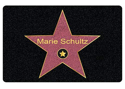 Fußmatte mit Namen Walk of Fame - Personalisierte Männer und Frauen Geschenke mit Name, Stern