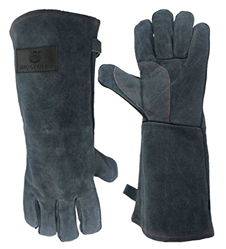 OZERO Welding Gloves, Perfect Heat Resistant Gloves Mitts for Oven/Grill/Fireplace/Stove/Pot Holder/Tig Welder/Mig/BBQ - Soft Cotton Lining with 16 inches Extra Long Sleeve - Gray