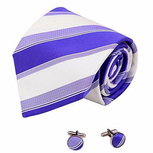 IHAOGEI Erweiterte Gestreifte'S Tie Männer Hochzeit Klassische Standard 8.5Cm Extra Lange Krawatte - Verschiedene Farben (Manschettenknöpfe Senden), E Schlips
