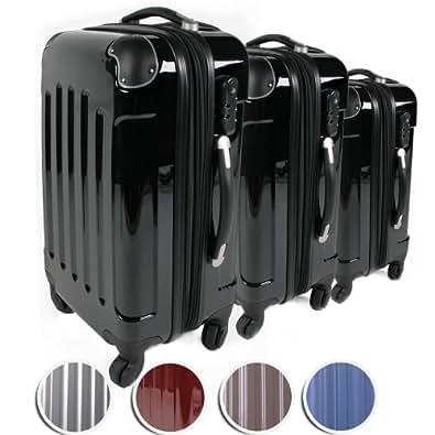Vojagor® - Set de 3 valises Trolley - TRSE01 - Noir - 115L, 71L et 44 L (bagage à main) - coque rigide - avec serrure à combinaison intégrée - poignée télescopique - roulettes 360° - DIVERSES COULEURS AU CHOIX