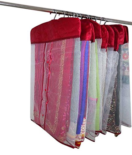 Kuber Industries Satin Hanging Saree Cover (Set Of 12) - Maroon