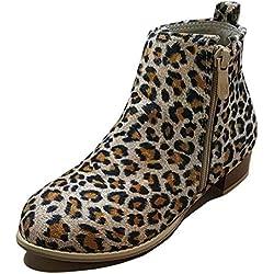 Minetom Mujer Botines Invierno, Moda Calentar Forrado Botas Planas Leopardo EU 38