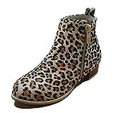 Minetom Mujer Botines Invierno, Moda Calentar Forrado Botas Planas Leopardo EU 40