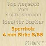 PiHaMi® 5 Platten 4 mm Birke Sperrholz Qualität B/BB (76 x 50cm) GP 14,92 € pro m²
