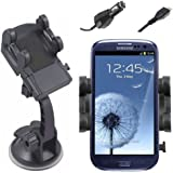 Horiya Accessories Adjustable Windscreen Mount Holder Cradle and In Car Charger for All Mobile Phone Models Including Samsung Galaxy S4, S3, S3 Mini, S2, S, Ace, Ace 2, Mini, Note, Note 2
